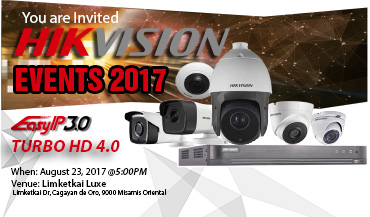 Events Hikvision Your are Invited on Wednesday, Aug 23, 2017 | 5:00PM - 9:00PM Limketkai Luxe CDO., Thanks and See You!